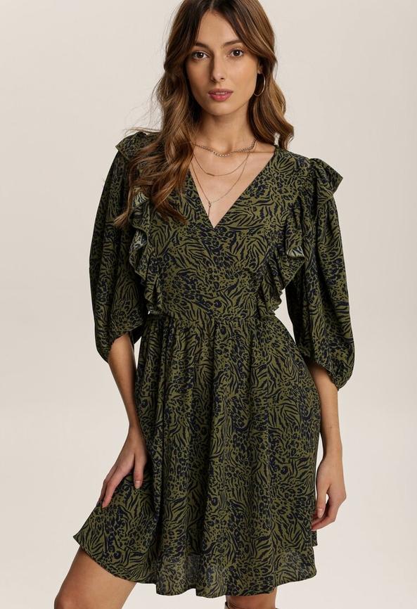 Zielona sukienka Renee z dekoltem w kształcie litery v mini