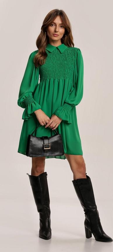 Zielona sukienka Renee z długim rękawem mini