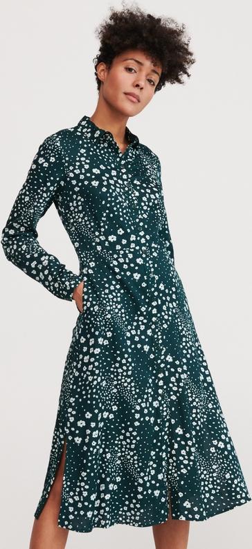 Zielona sukienka Reserved z długim rękawem midi