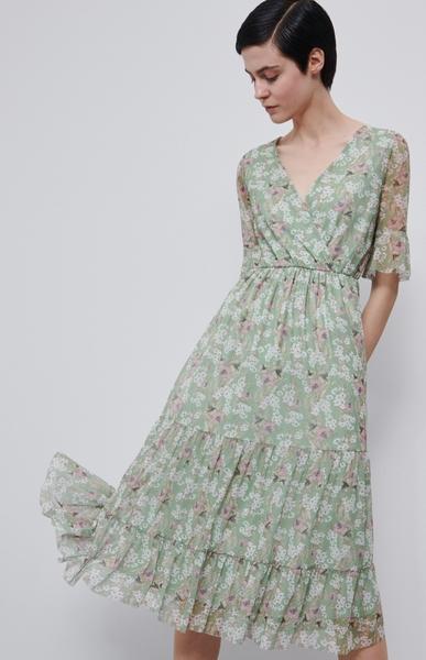 Zielona sukienka Reserved z krótkim rękawem w stylu boho