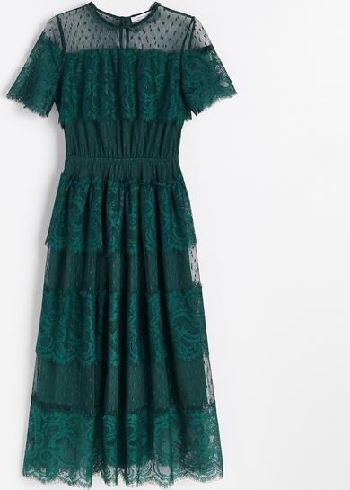 Zielona sukienka Reserved z krótkim rękawem z okrągłym dekoltem