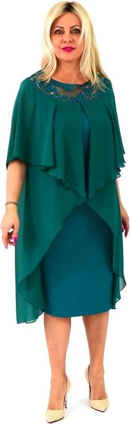 Zielona sukienka Roxana - sukienki z długim rękawem dla puszystych z szyfonu