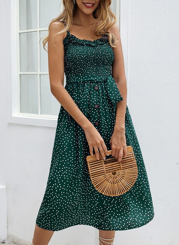 Zielona sukienka Sandbella z dekoltem w kształcie litery v midi