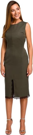 Zielona sukienka Style bez rękawów midi z tkaniny