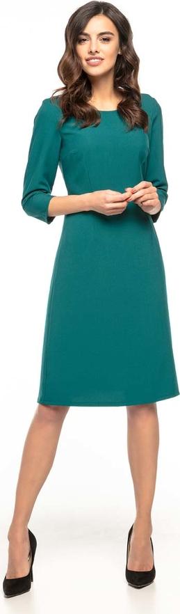 Zielona sukienka Tessita trapezowa z okrągłym dekoltem z długim rękawem