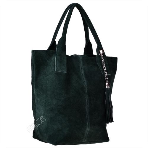 Zielona torebka Borse in Pelle zamszowa duża w wakacyjnym stylu