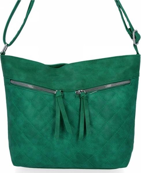Zielona torebka Herisson na ramię duża pikowana