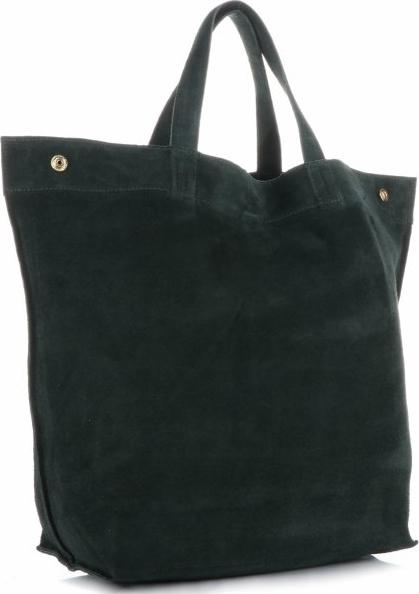 Zielona torebka Vera Pelle z zamszu do ręki w stylu casual