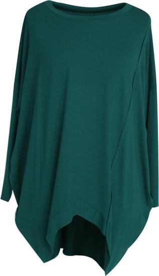 Zielona tunika Sklep XL-ka z długim rękawem z tkaniny