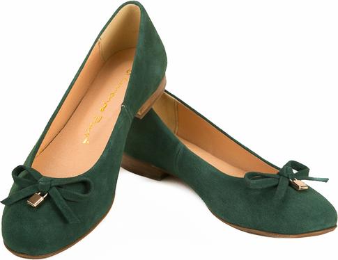 Zielone baleriny Lafemmeshoes w stylu casual z płaską podeszwą z zamszu