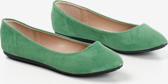 Zielone baleriny Royalfashion.pl z zamszu w stylu casual
