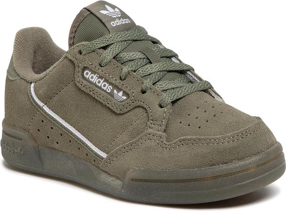 Zielone buty sportowe dziecięce Adidas z zamszu sznurowane