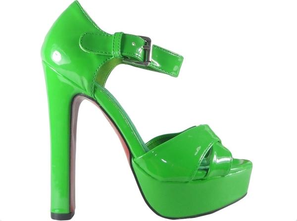 Zielone sandały Kokietki z klamrami