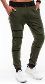 Zielone spodnie sportowe Ombre Clothing z bawełny w sportowym stylu