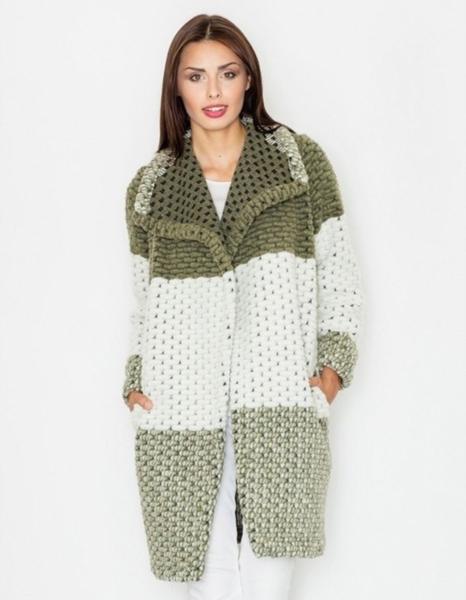 Zielony płaszcz Figl z wełny