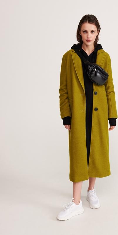 Zielony płaszcz Reserved z wełny