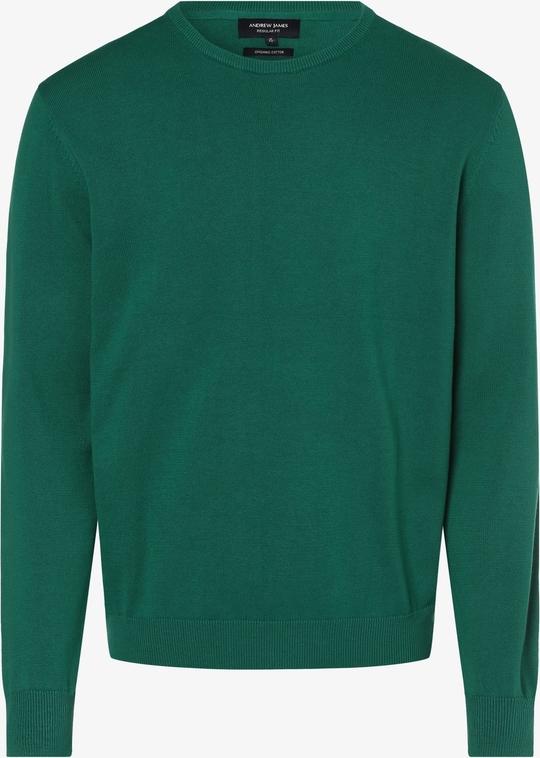 Zielony sweter Andrew James w stylu casual z bawełny