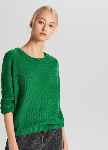 Zielony sweter Cropp w stylu casual