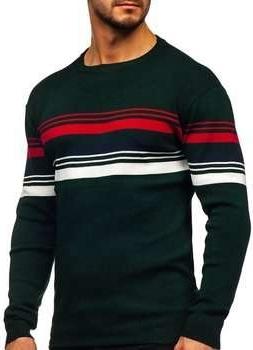 Zielony sweter Denley w młodzieżowym stylu z wełny