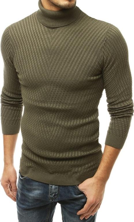 Zielony sweter Dstreet z bawełny w stylu casual