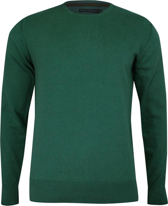 Zielony sweter Just yuppi w stylu casual z bawełny