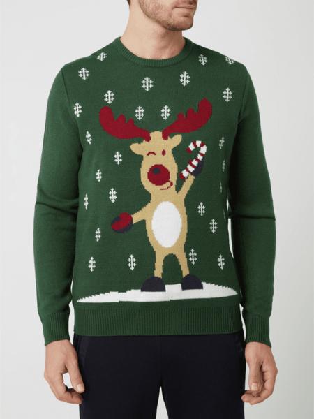 Zielony sweter Montego z nadrukiem z okrągłym dekoltem