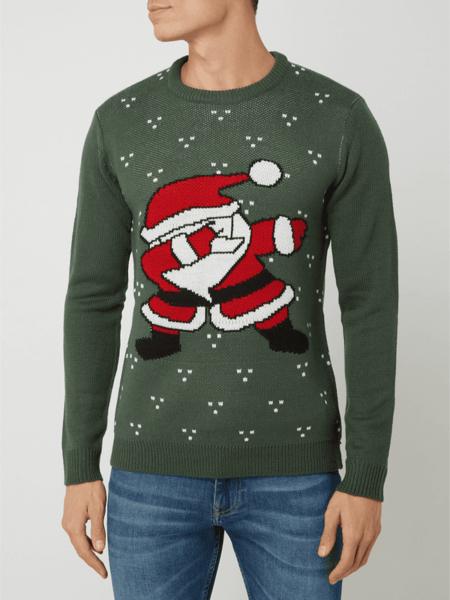 Zielony sweter Only & Sons w bożonarodzeniowy wzór w młodzieżowym stylu z okrągłym dekoltem