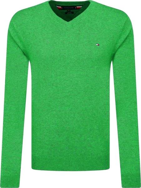 Zielony sweter Tommy Hilfiger z wełny