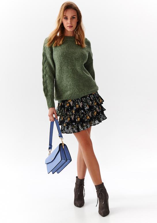 Zielony sweter Top Secret z dzianiny w stylu casual
