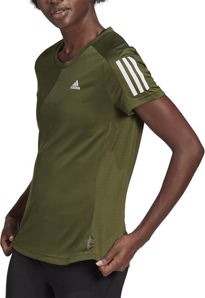 Zielony t-shirt Adidas z krótkim rękawem z okrągłym dekoltem w sportowym stylu