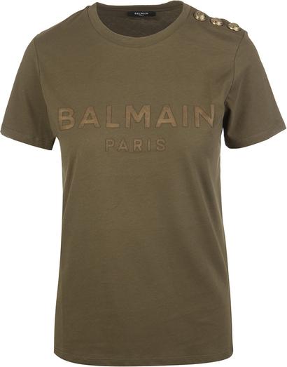 Zielony t-shirt Balmain z krótkim rękawem