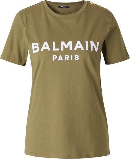 Zielony t-shirt Balmain z krótkim rękawem z dżerseju z okrągłym dekoltem