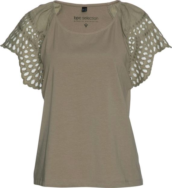 Zielony t-shirt bonprix bpc selection z krótkim rękawem w stylu casual z okrągłym dekoltem