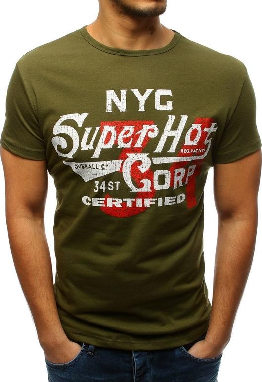 Zielony t-shirt Dstreet z bawełny z krótkim rękawem w młodzieżowym stylu