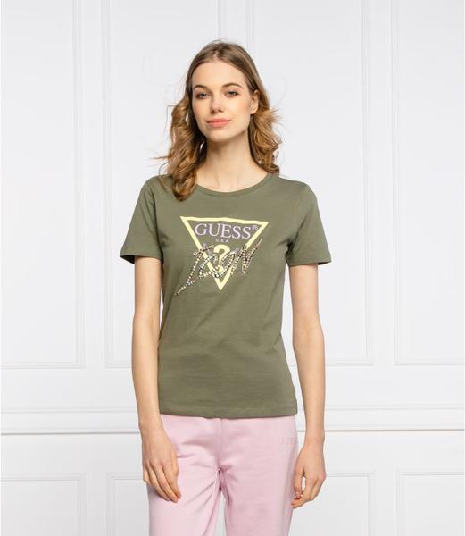 Zielony t-shirt Guess z okrągłym dekoltem