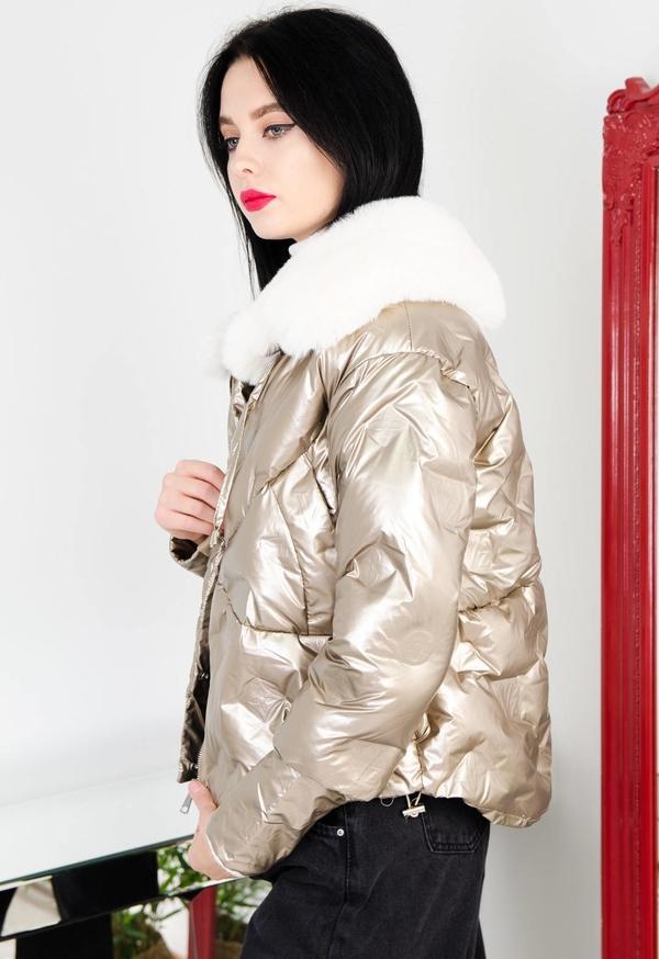 Złota kurtka Olika krótka w stylu casual