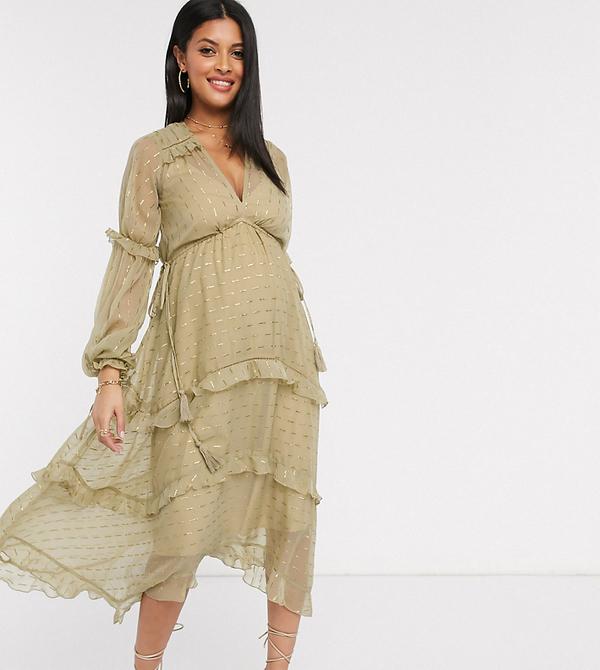 Złota sukienka Asos z żakardu