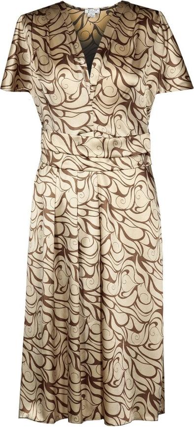 Złota sukienka Fokus z krótkim rękawem midi rozkloszowana