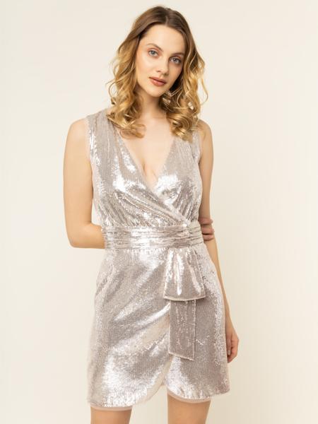 Złota sukienka Liu-Jo bez rękawów z dekoltem w kształcie litery v mini