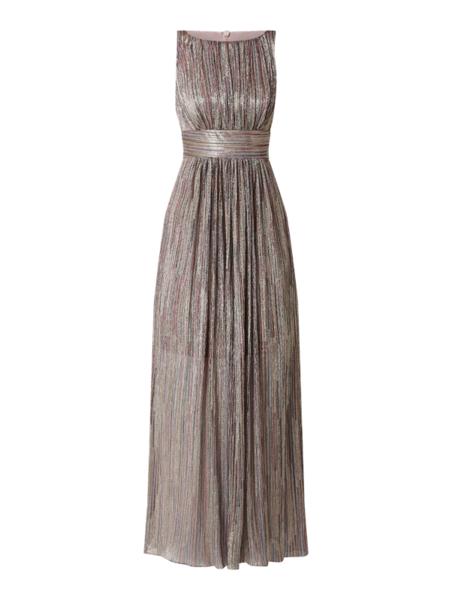 Złota sukienka Swing bez rękawów maxi