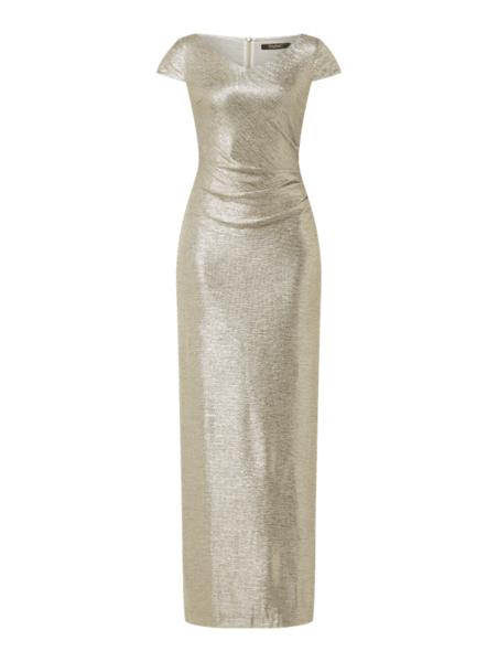 Złota sukienka Swing maxi z krótkim rękawem