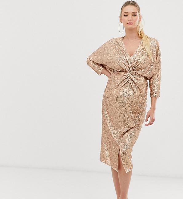 Złota sukienka Tfnc Maternity z długim rękawem