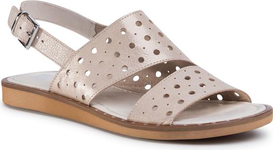 Złote sandały Nessi z klamrami na średnim obcasie ze skóry