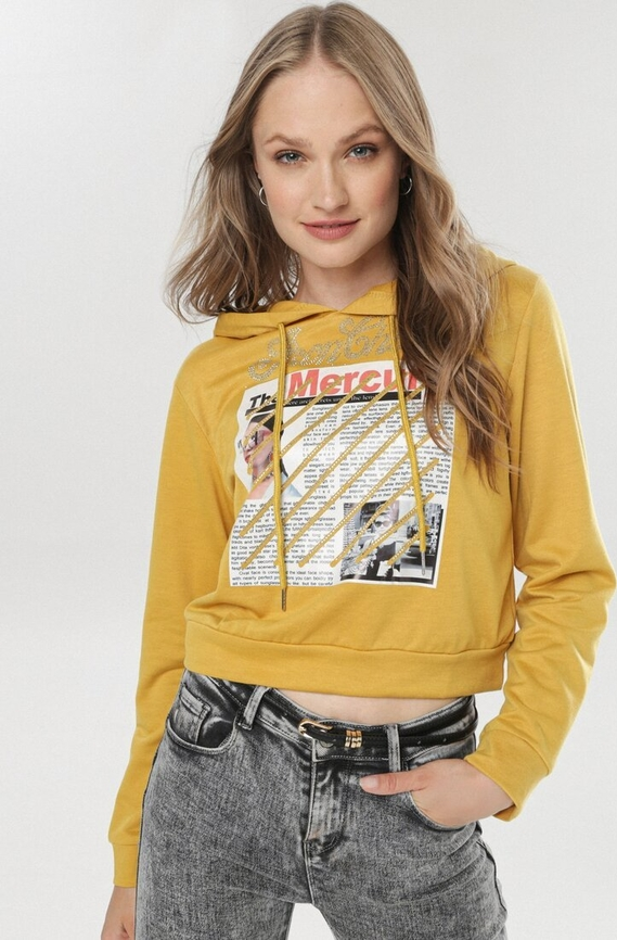 Żółta bluza born2be krótka z nadrukiem
