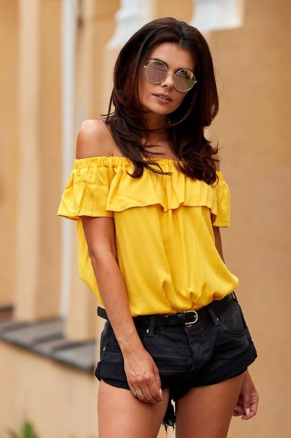 Żółta bluzka Awama z krótkim rękawem