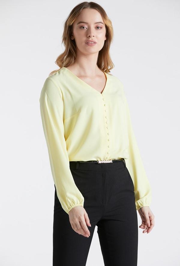 Żółta bluzka Monnari z dekoltem w kształcie litery v z długim rękawem w stylu casual