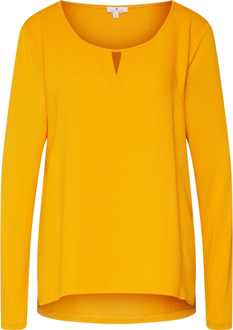 Żółta bluzka Tom Tailor z dżerseju z okrągłym dekoltem
