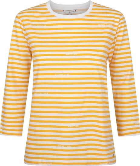 Żółta bluzka Tommy Hilfiger z okrągłym dekoltem z bawełny