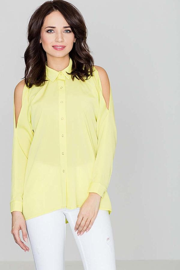 Żółta koszula Katrus z długim rękawem