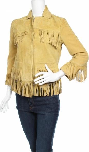 Żółta kurtka Au Revoir krótka ze skóry